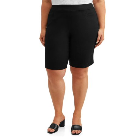 Pull On Woven Shorts - Terra & Sky Women's Plus Size Pull on Stretch Woven Short with Tummy Control