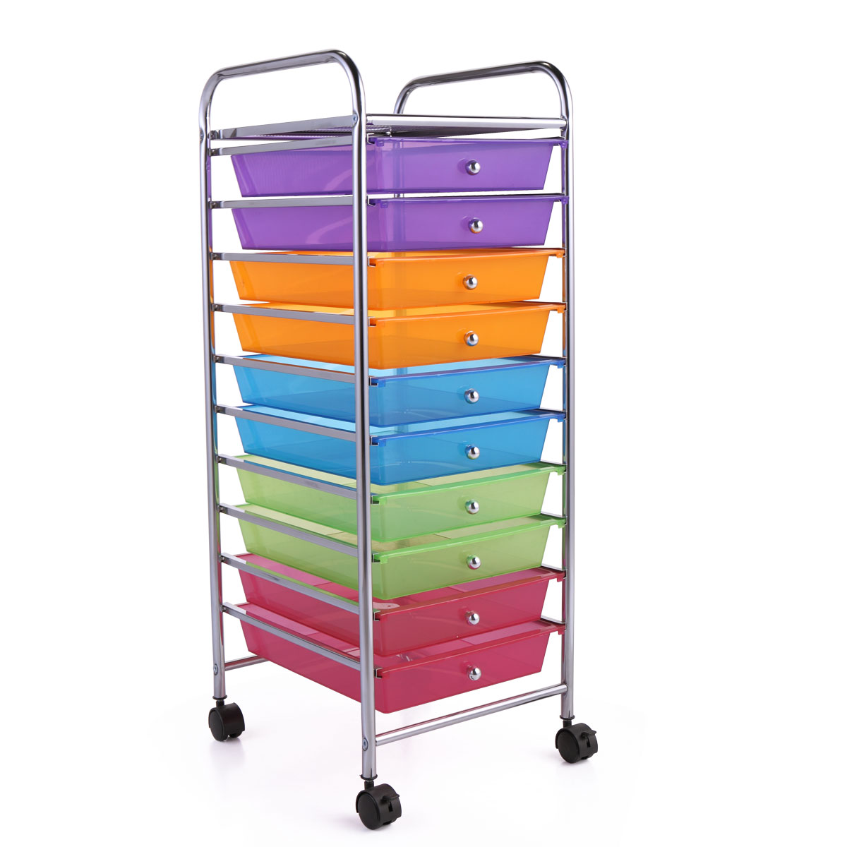 Rolling Storage Cart Mobile Organizer w// 10 Removable PP Drawers Multiple Colors
