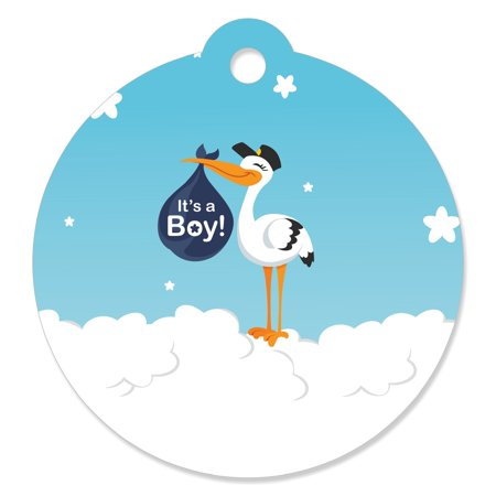 Boy Special Delivery - Blue It's A Boy Stork Baby Shower Favor Gift Tags (Set of 20)