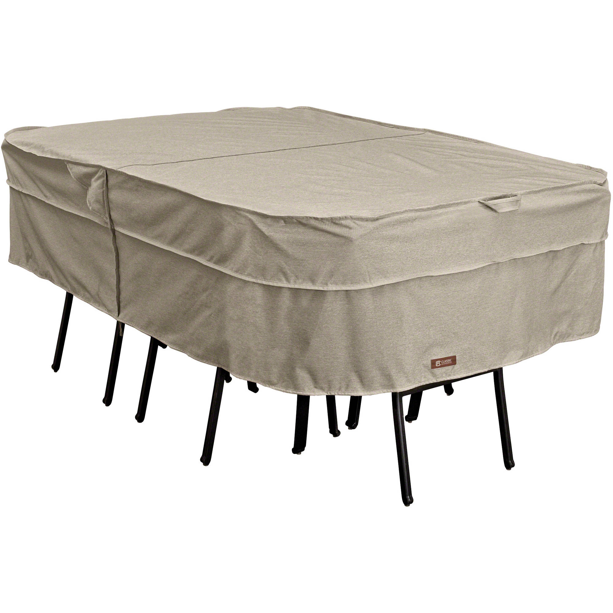 Classic Accessories Montlake FadeSafe Rectangle/Oval Patio Table & Chair Set Cover, Heavy Duty Outdoor Furniture Cover with Waterproof Backing, Large (55-654-046701-RT)
