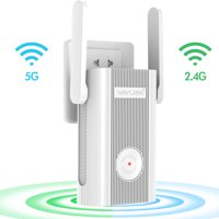 WAVLINK 1200Mbps Dual Band Wi-Fi Extender, Wireless Repeater Range Extender, 2 x 5DBi Antennas Signal WiFi Booster Repeater/AP Mode,Plug and Play, WPS, Support Any Router