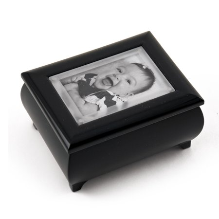 """3"""" X 2"""" Wallet Size Matte Black Photo Frame Music Box With New Pop-Out Lens System - 18th Variation"""