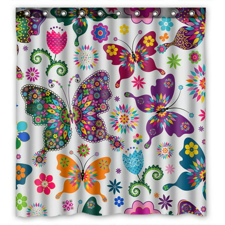 GCKG Beatiful Flying Butterflies Bathroom Shower Curtain, Shower Rings Included 100% Polyester Waterproof Shower Curtain 66x72 inches - Butterfly Bathroom