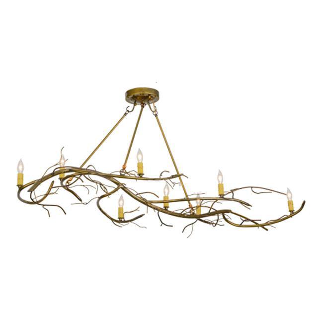 Meyda 152375 57 in. Winter Solstice 8 Light Oblong Chandelier, Gold by Meyda