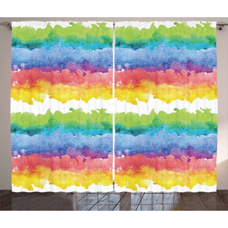 Watercolor Curtains 2 Panels Set, Horizontal Wavy Brushstroke Clouds Queer Rainbow Abstract Creative Kids Theme, Window Drapes for Living Room Bedroom, 108W X 90L Inches, Multicolor, by Ambesonne](Theme For Kids)