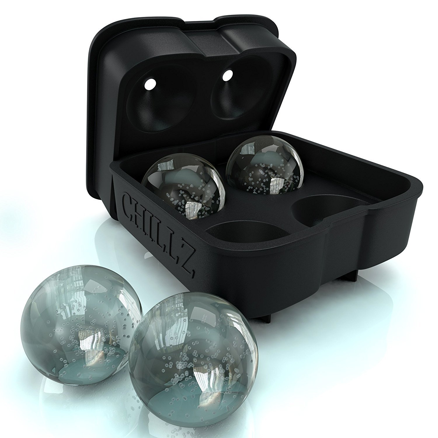 Chillz Ice Ball Maker Mold - Black Flexible Silicone Ice Tray - Molds 4 X 4.5cm Round Ice Ball Spher