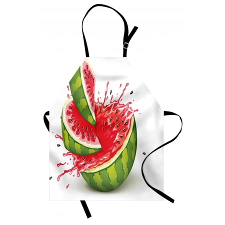 Modern Apron Summer Fruit Ripe Watermelon Cuts with Splashes of Juice Drops Print, Unisex Kitchen Bib Apron with Adjustable Neck for Cooking Baking Gardening, Red White and Fern Green, by