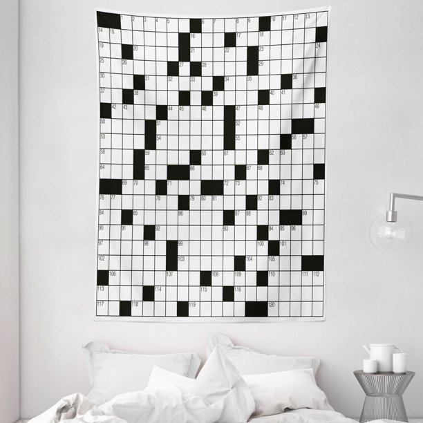 Word Search Puzzle Tapestry Classical Crossword Puzzle With Black And White Boxes And Numbers Wall Hanging For Bedroom Living Room Dorm Decor Black And White By Ambesonne Walmart Com Walmart Com