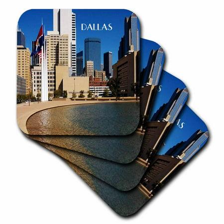 3dRose Downtown Dallas Texas, Ceramic Tile Coasters, set of 4 - Halloween Stores In Dallas Texas