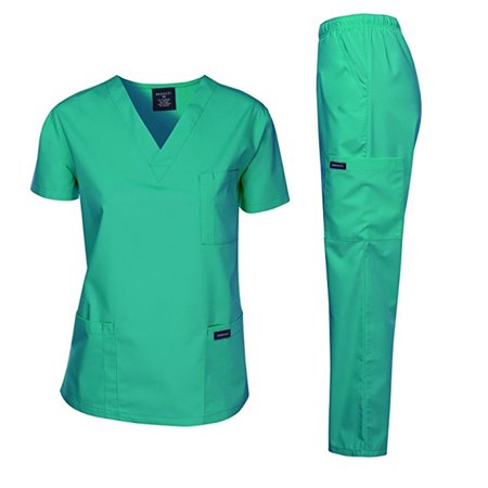 Dagacci Scrubs Medical Uniform Unisex Scrubs Set Medical Scrubs Top and Pants (Hospital Green, 2X-Large) - Red Nurse Outfit