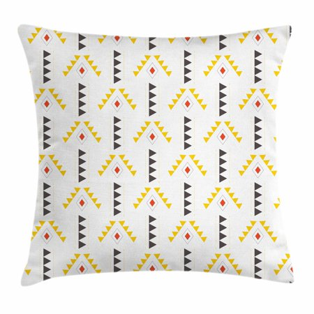 Yellow And White Throw Pillow Cushion Cover Ethnic Pattern With Rhombuses Triangles Digital Composition