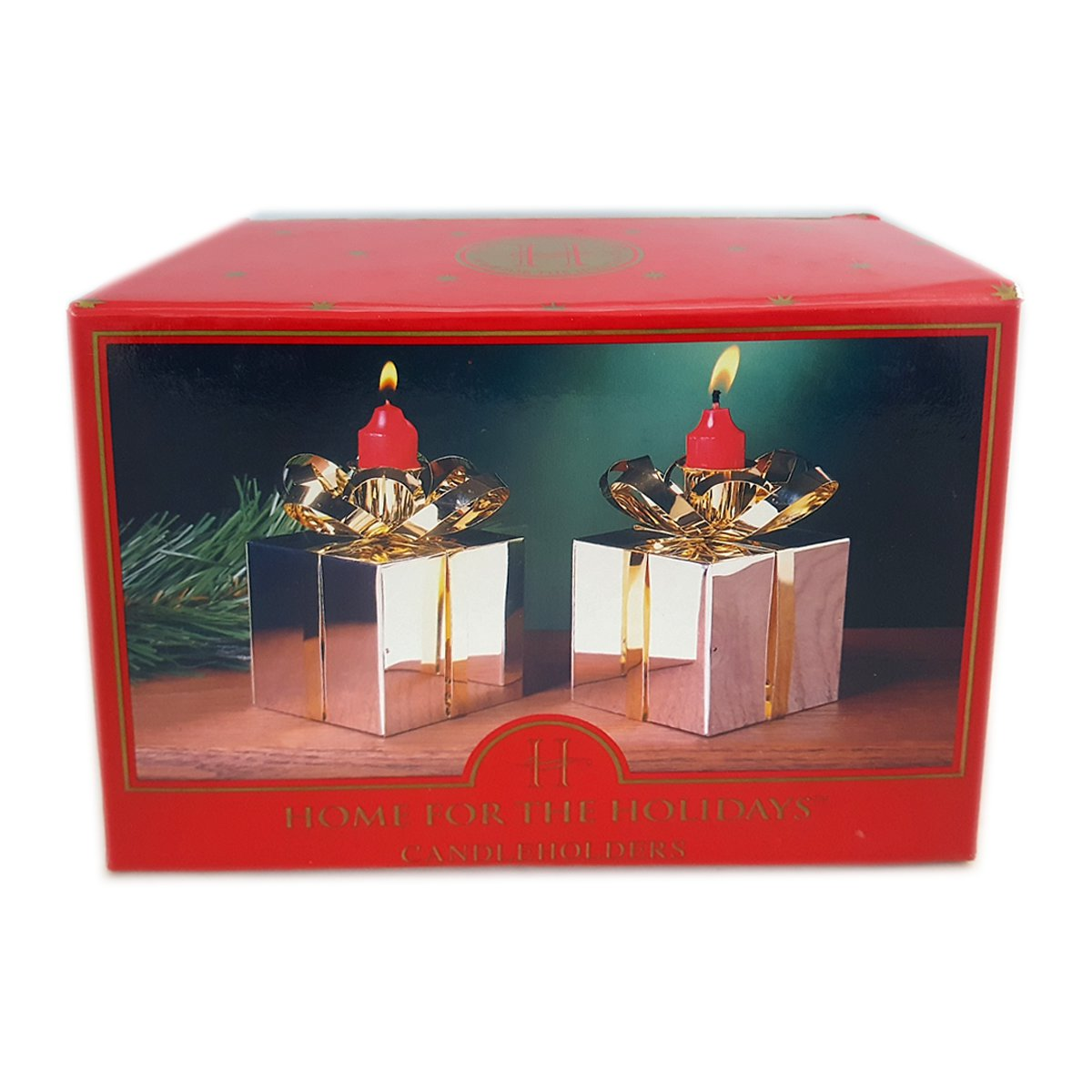 Home For The Holidays Silver Plate and Brass Gift Box Candle Holders