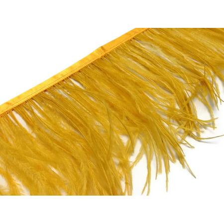 6 Inch Strip - Gold Ostrich Fringe Trim Feather - Fake Ostrich Feathers