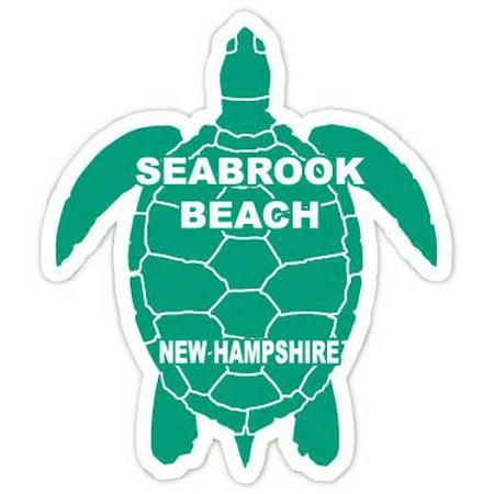 "Seabrook Beach New Hampshire Souvenir 4"" Green Turtle Shape Decal Sticker"