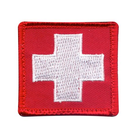 White Cross Medic Patch/First Aid Symbol  w/Hook Backing, 1 7/8