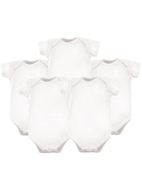 Luvable Friends Baby Boy or Girl Gender Neutral White Short Sleeve Bodysuits, 5-pack