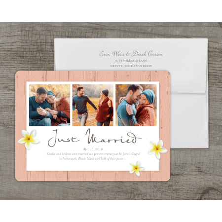 Personalized Wedding Wedding Announcement - Rustic Floral - 5 x 7 Flat Deluxe ()