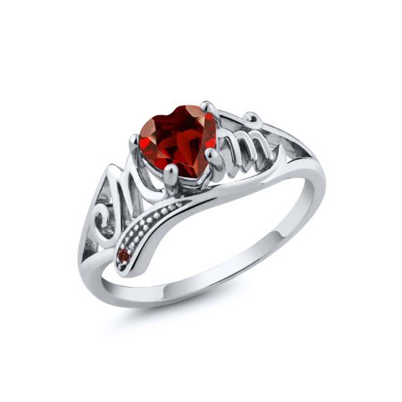0.56 Ct Heart Shape Red Garnet Gemstone 925 Sterling Silver Mom Ring ()