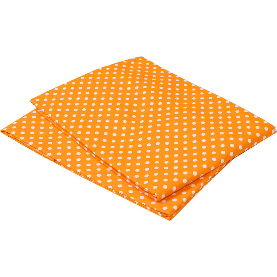 Bacati  -  MixNMatch Pin Dots Crib / Toddler Bed Sheets 100% Cotton Percale, Orange, 2 - Pack