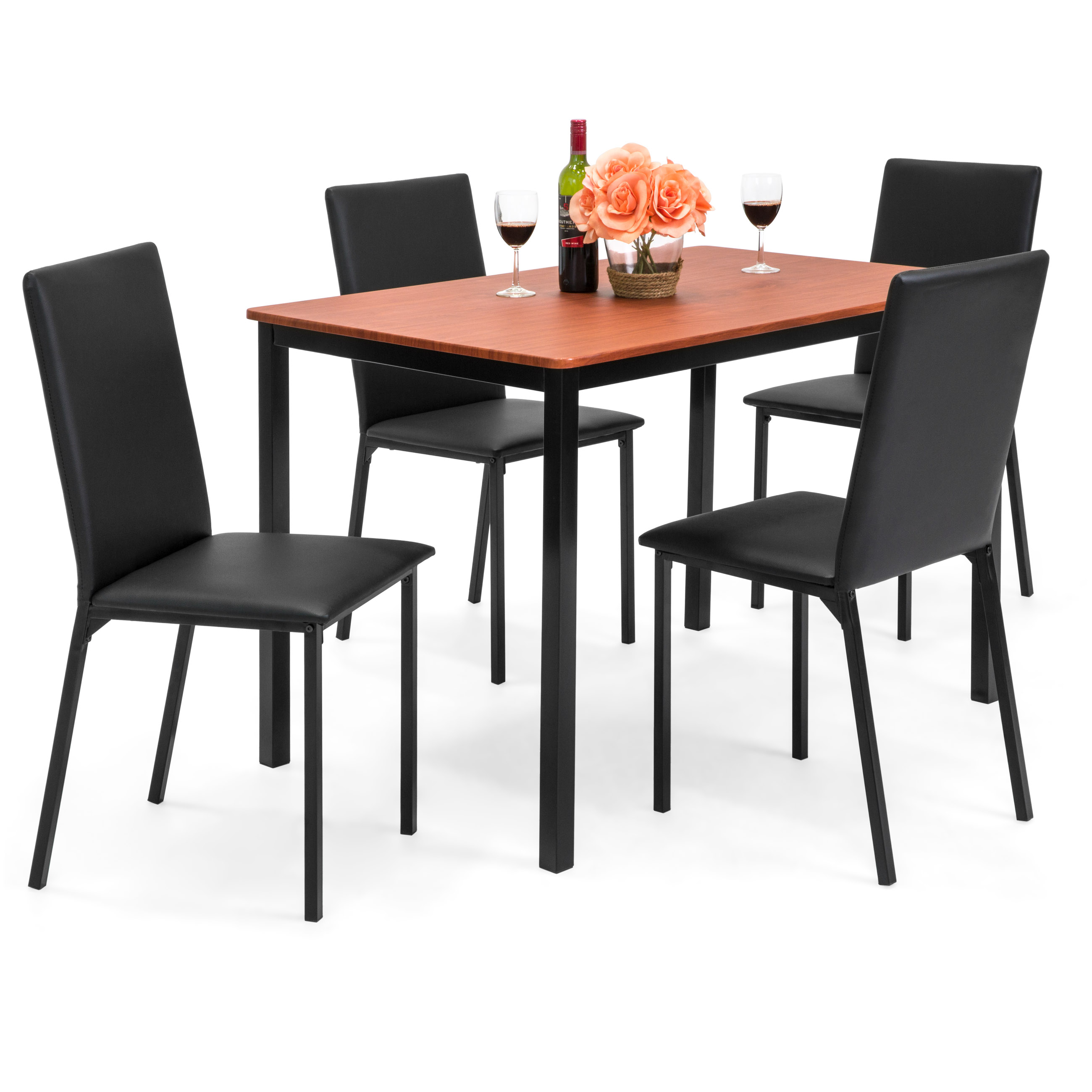 Best Choice Products 5-Piece Rectangle Dining Table Home Furniture Set w/ 4 Faux Leather Chairs - Black