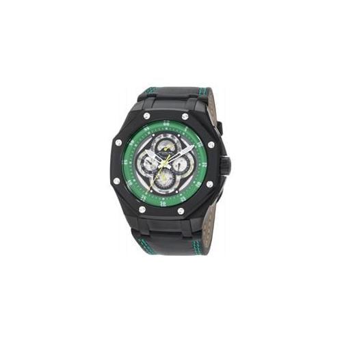 Stuhrling Original 181AXL. 335571 Mens Nemo MCX Automatic Black Case with Black Bezel and Green Flange on Black Leather S