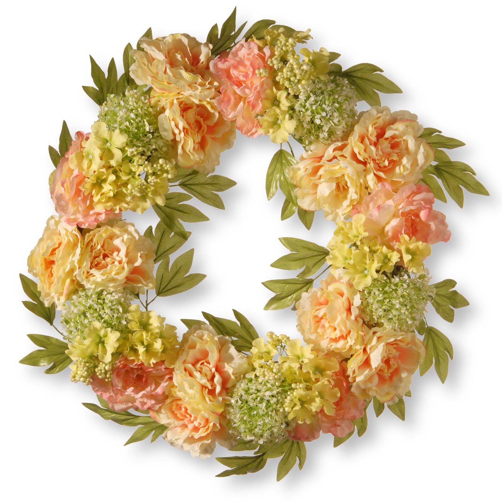 "National Tree Artificial 24"" Cream Peony Wreath"