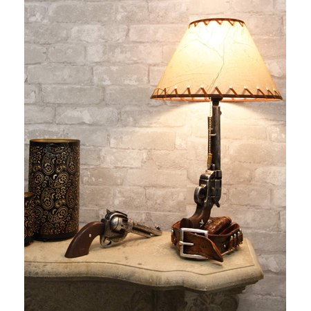 Ebros Western Six Shooter Revolver Gun with Holster and Ammo Belt Base Desktop Bedside Table Lamp with Shade 20.5