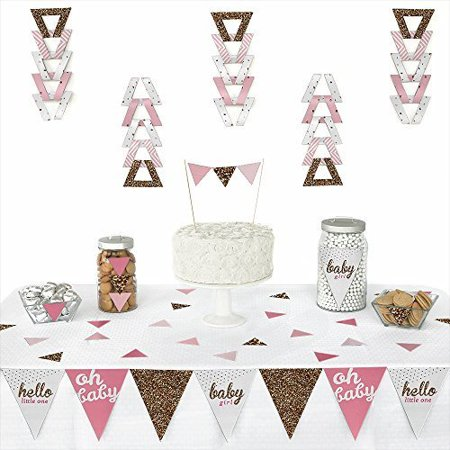 Hello Little One - Pink and Gold - Triangle Girl Baby Shower Party Decorations - 72 Pieces
