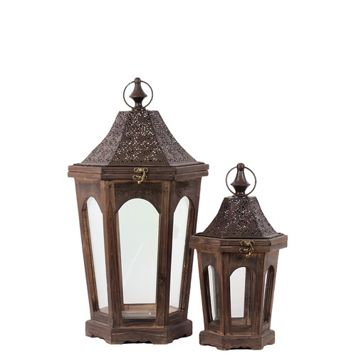 Woodland Imports 2 Piece Classic Lamp Post Design Wooden Lantern Set by Woodland Imports