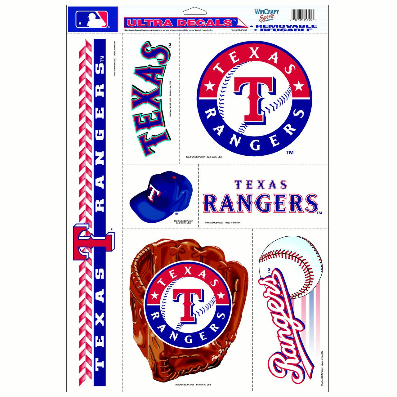 "Texas Rangers WinCraft 7-Piece 11"" x 17"" Multi-Use Decal Sheet - No Size"