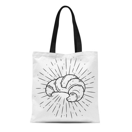 ASHLEIGH Canvas Tote Bag Breakfast Croissant and Divergent Rays Badges More Lettering Bake Durable Reusable Shopping Shoulder Grocery
