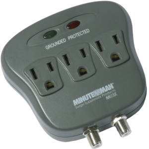 3-OUTLET SURGE PROTECTOR W/COAX 15A 120V 1800 WATTS 1080 JOULES