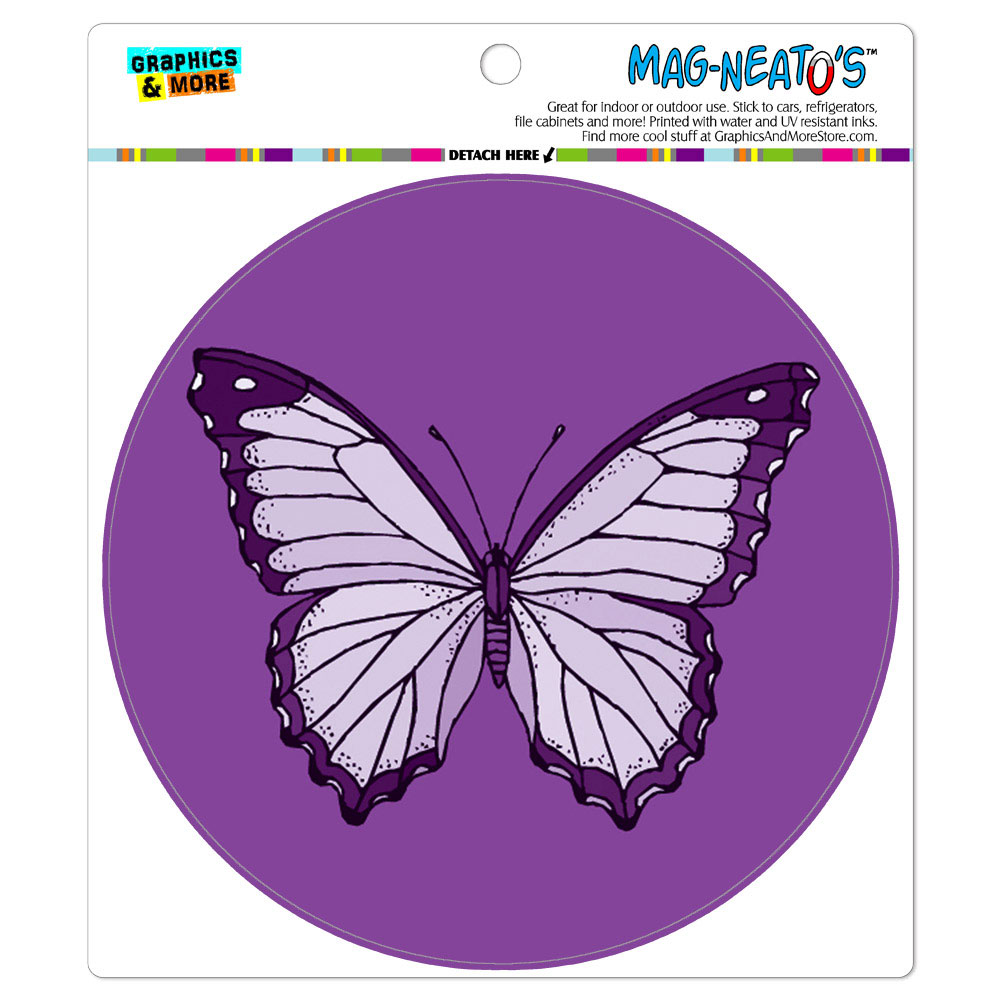 Purple Butterfly - Circle MAG-NEATO'S(TM) Car/Refrigerator Magnet