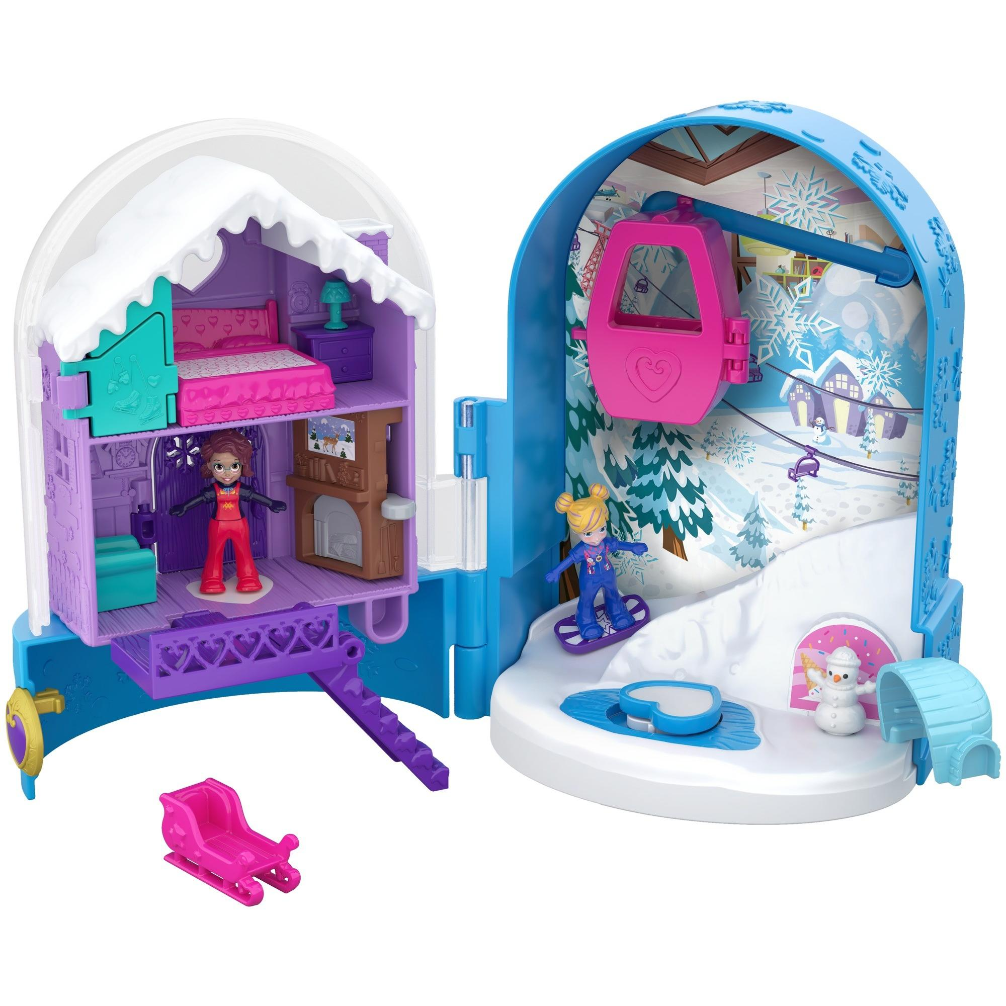 Polly Pocket Pocket World Snow Secret Surprise Compact with Snowboard Dolls