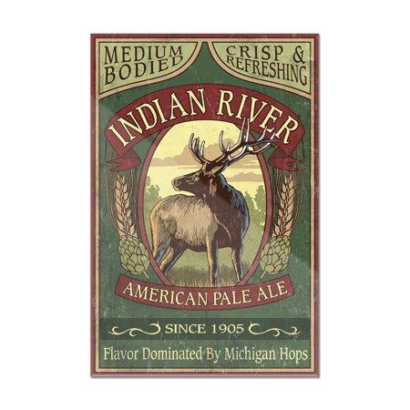 Indian Pale Ale - Indian River, Michigan - Elk Pale Ale Vintage Sign - Lantern Press Artwork (8x12 Acrylic Wall Art Gallery Quality)