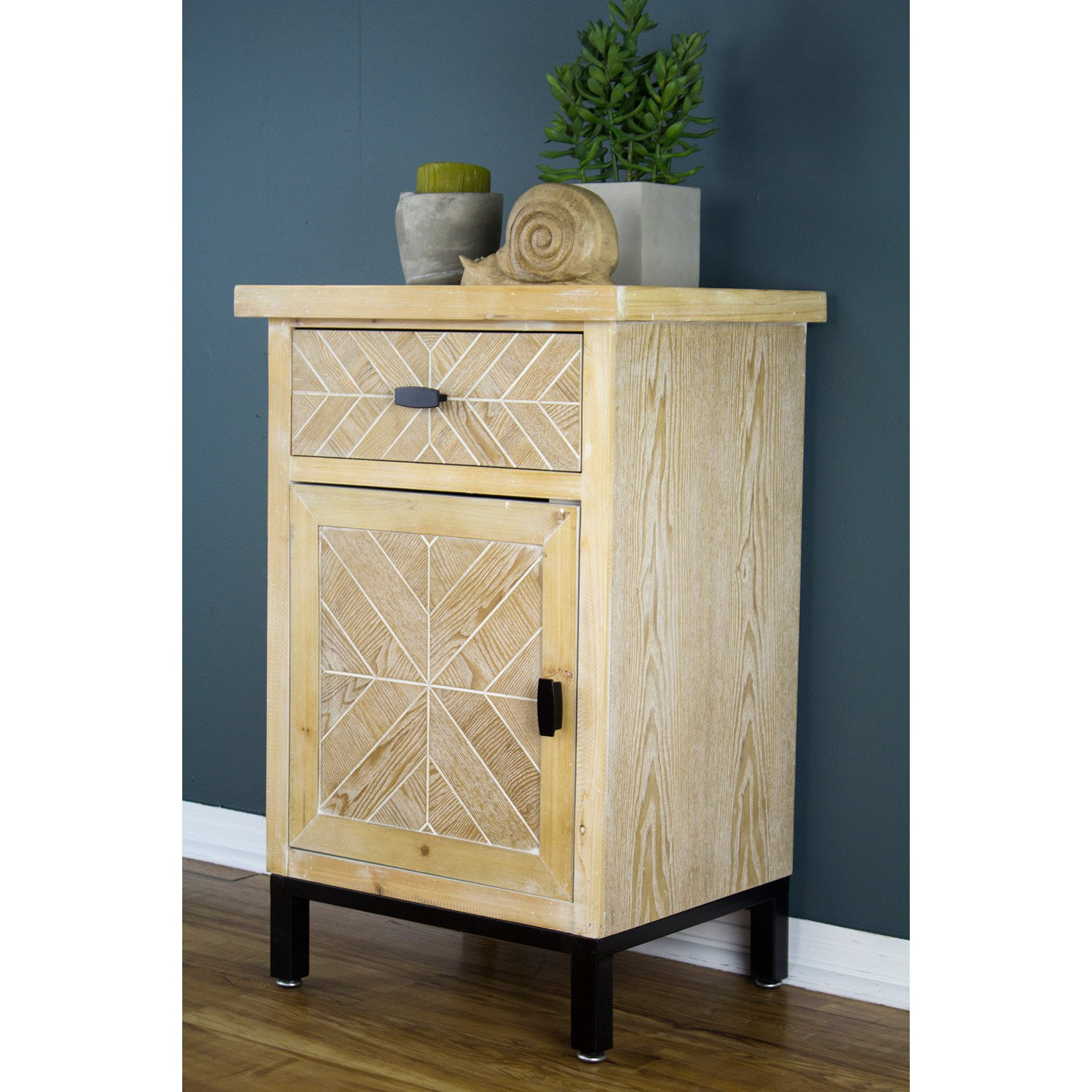 Heather Ann Creations Urban 1 Drawer Parquet Accent Cabinet