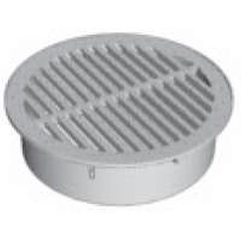 8104010,CORRUGATED DRAIN FITTINGS,ROUND GRATE ,Size In=6,Color=Black