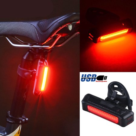 Red COB LED Bicycle Bike Cycling Front Rear Tail Light USB Rechargeable 6