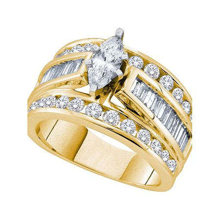 14kt Yellow Gold Womens Marquise Diamond Solitaire Bridal Wedding Engagement Ring 3.00 Cttw - image 1 de 1