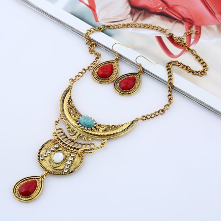 Women Vintage Boho Jewelry Set Multilayer Alloy Gemstone Pendant Bib Statement Necklace and Earrings Set - image 1 of 8