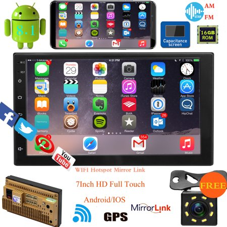 "Android 8.1 7""HD 2DIN Quad Core 16G Car Stereo Radio MP5 Player GPS Wifi +2 USB+Free Camera 8LED"