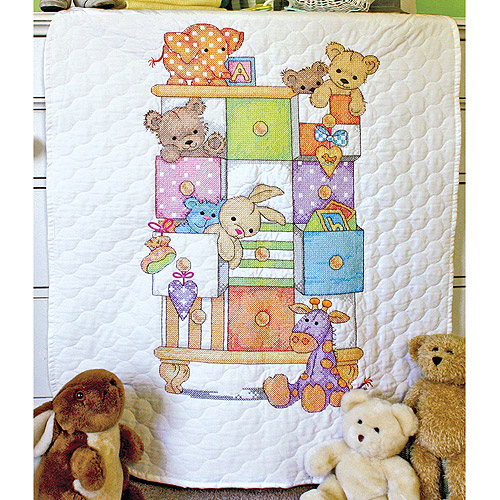 "Dimensions Baby Hugs ""Baby Drawers"" Quilt Stamped Cross Stitch Kit, 34"" x 43"""