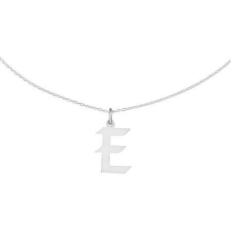 "Sterling Silver Medium Artisan Block Initial E Charm, 18"" Chain"