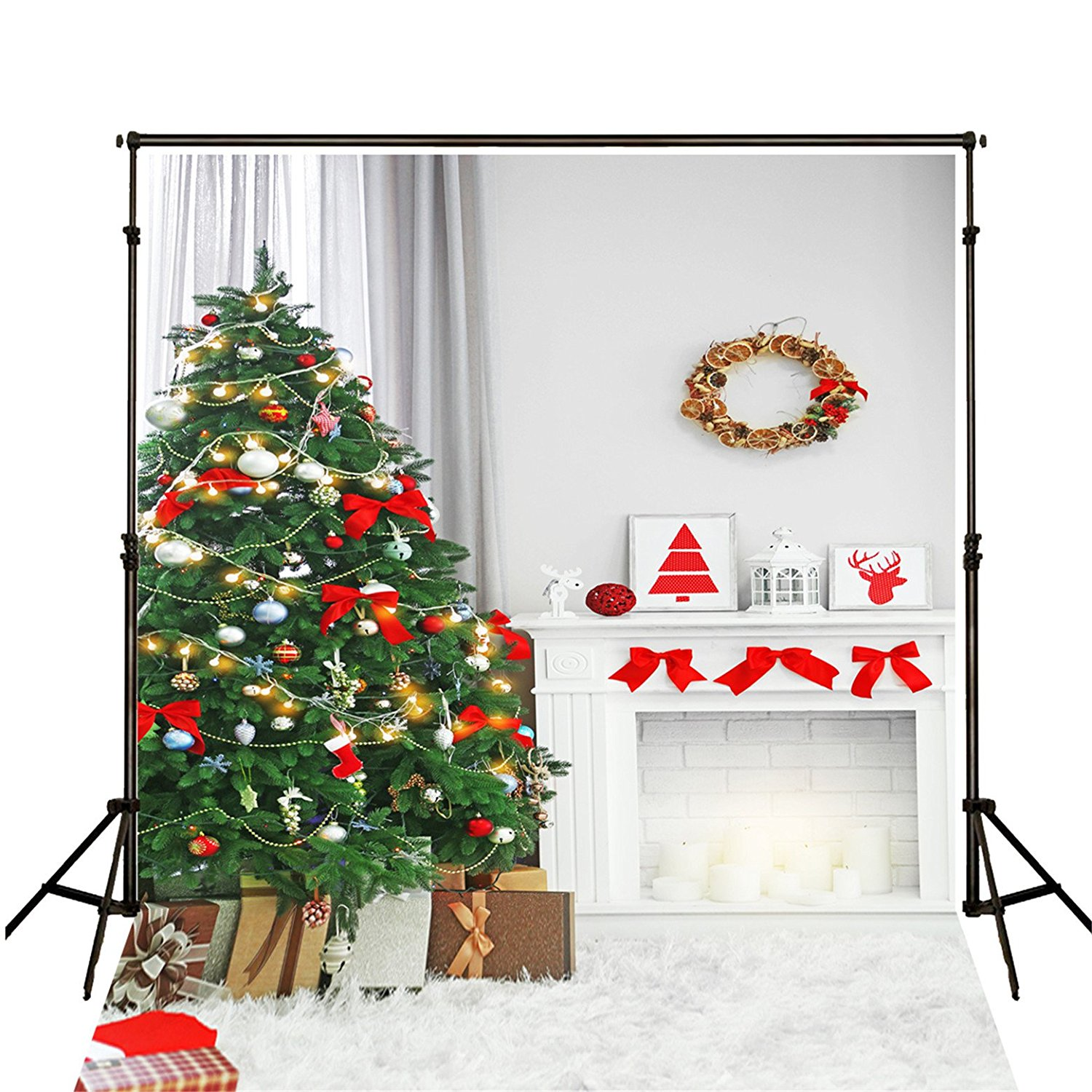 HelloDecor Polyster 5x7ft Photography Backdrop Newborn Green Xmas Tree Background Cloth Christmas Backdrops for Photographers