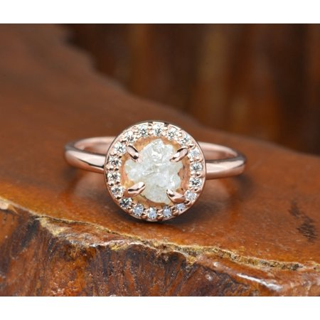 Hammered Band 2 Carat Natural Rough White Diamond Solitaire Engagement Ring in 10k Rose Gold