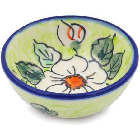 Polish Pottery 3½-inch Bowl (White Flower Bouquet Theme) Signature UNIKAT Hand Painted in Boleslawiec, Poland + Certificate of - Hand Painted Flower Peg