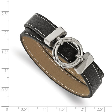 Stainless Steel Polished Black Leather Wrap Bracelet - image 2 de 3