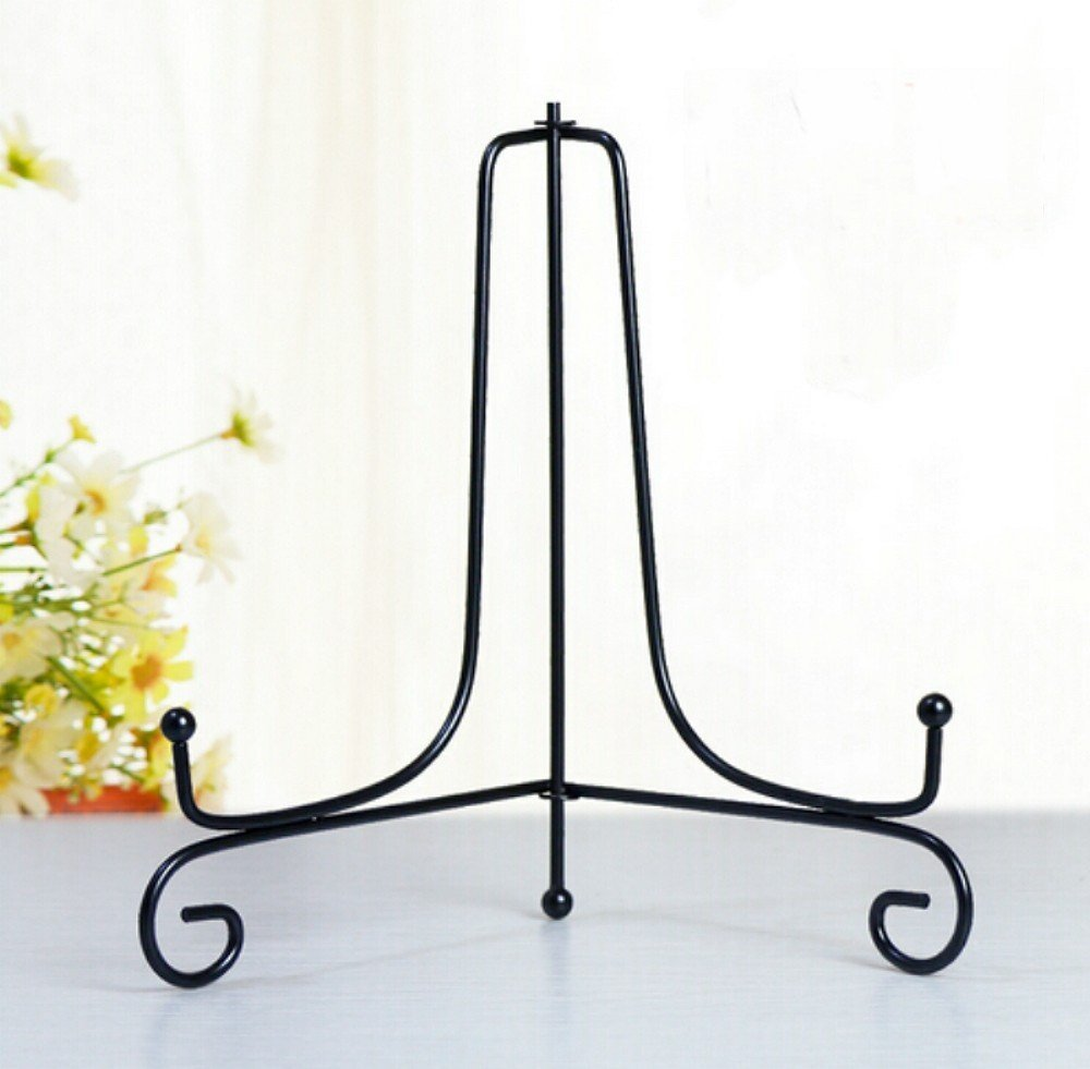 4 -12  Black Iron Display Stand Black Iron Easel Plate Display Display Stand Curve Design for Home DecorationHolds Cook Books Plates Pictures u0026 More ...  sc 1 st  Walmart & 4
