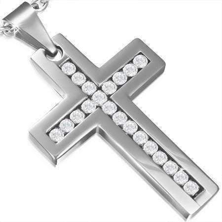 Brilliant CZ Diamond Cross Stainless Steel