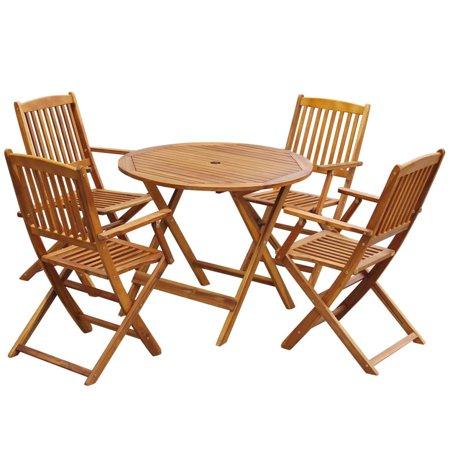 Outdoor Dining Set 5 Pieces Solid Eucalyptus Wood Round